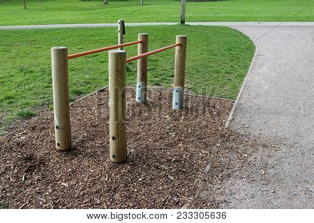 Parallel Bars Fitness Equipment In A Park