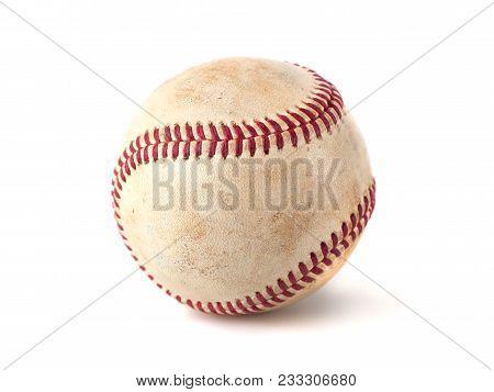 Worn Baseball Isolated On White Background, Sport