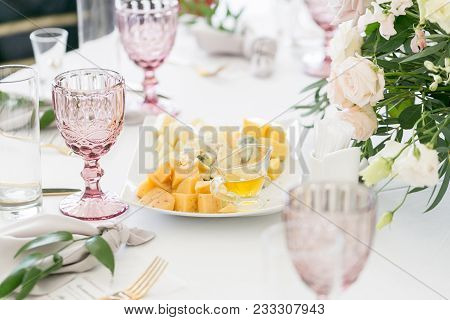 Cheese Platter. Plate With Food On The Table, Snacks At The Banquet, Wedding Banquet, Table Setting,