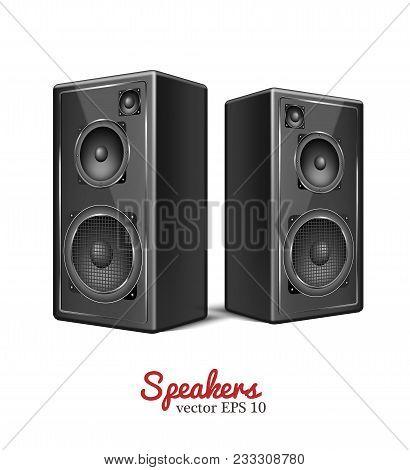 Sound Speaker In Wooden Body. Music Loudspeaker, Sub Woofer Acoustic Stereo Musical Equipment Icon.
