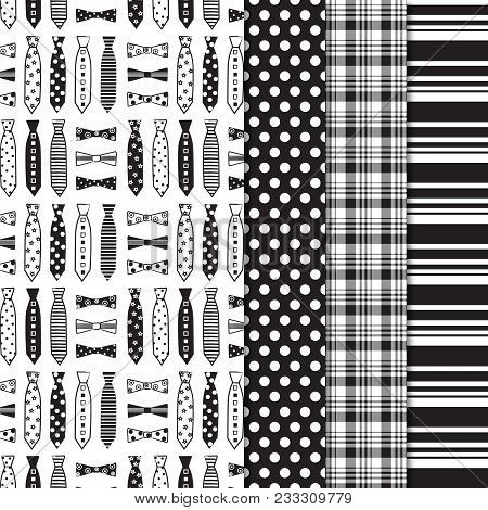 Necktie And Bow Tie Seamless Pattern With Coordinating Polka Dot, Plaid And Stripe Print.