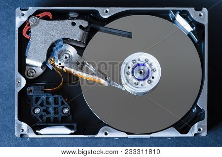 Hard Disk Drive With Removed Cover, Hdd Inside Flat View, Spindle, Actuator Arm, Read Write Head, Pl