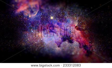 Nebula And Stars In Deep Space, Mysterious Universe. Science Fiction Art With Small Dof. Elements Of