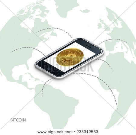 Bitcoin. Physical Coin. Digital Currency. Cryptocurrency. Gold Coin With The Bitcoin Symbol.bitcoin