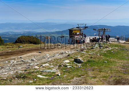 Rila Mountains, Bulgaria - May 20, 2017: Top Station Of A Chairlift In The Summer, Located Near Rils