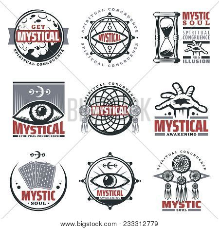 Vintage Mystical Spiritual Emblems Set With Inscriptions Moon Sandglass Mystic Symbols Jewelry Third