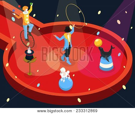 Isometric Circus Performance Rehearsal Template With Tamer Animal And Magic Tricks Clown Juggling On