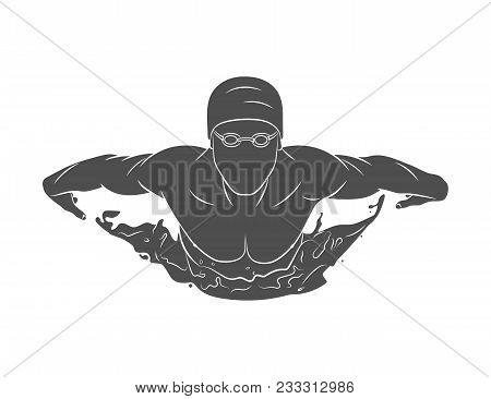 Silhouette Of A Swimmer Butterfly On A White Background.