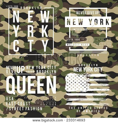 T-shirt Design With Camouflage Texture. New York City Typography With Slogan For Shirt Print. Set Of