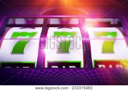 Lucky Slot Spin. Casino Slot Machine Game Concept 3d Rendered Illustration.