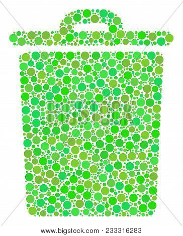 Trash Bin Composition Of Filled Circles In Various Sizes And Ecological Green Color Hues. Vector Fil