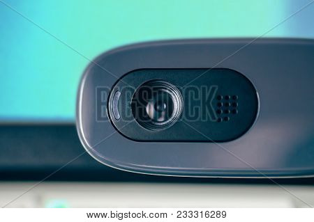 Modern Web Camera, Close Up, Blue Toned