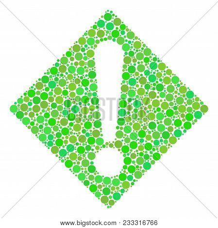 Warning Composition Of Dots In Variable Sizes And Ecological Green Shades. Vector Round Dots Are Org
