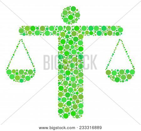 Weight Comparing Person Collage Of Dots In Different Sizes And Eco Green Color Tinges. Vector Circle