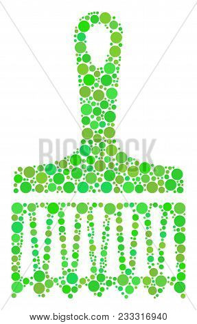 Wide Brush Composition Of Dots In Various Sizes And Fresh Green Shades. Vector Round Dots Are Combin