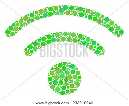 Wi-fi Collage Of Dots In Various Sizes And Fresh Green Color Tints. Vector Round Elements Are Compos