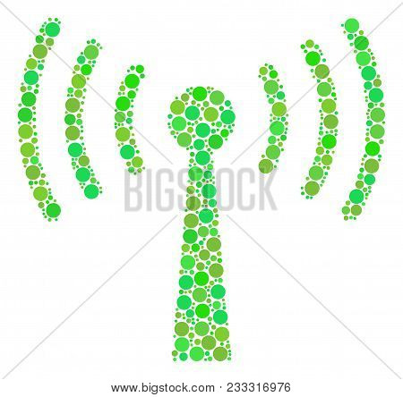 Wi-fi Station Collage Of Circle Elements In Variable Sizes And Fresh Green Color Hues. Vector Circle