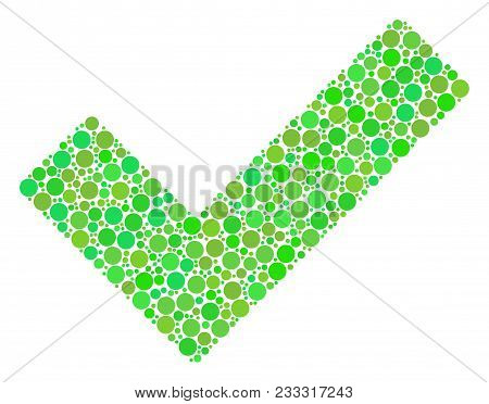 Yes Collage Of Circle Elements In Various Sizes And Green Color Hues. Vector Filled Circles Are Orga