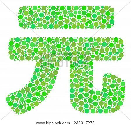 Yuan Renminbi Composition Of Filled Circles In Different Sizes And Eco Green Color Tinges. Vector Fi