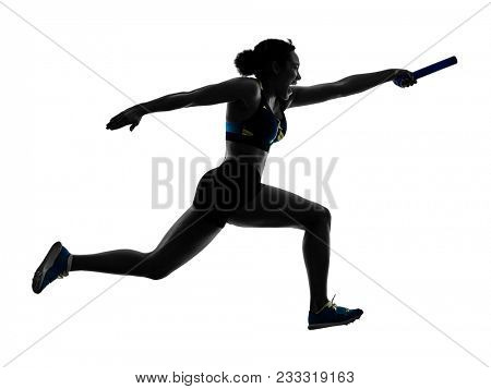 athletics relay runners sprinters running runners in silhouette isolated on white background poster