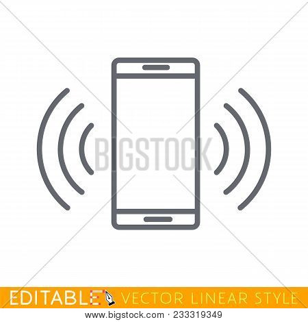 Smartphone Or Mobile Phone Ringing Or Vibrating Flat Icon For Apps And Websites. Editable Stroke Ske