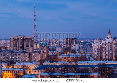 Aerial View Of Evening Voronezh Downtown. Voronezh Cityscape At Twilight. Modern Houses, Television