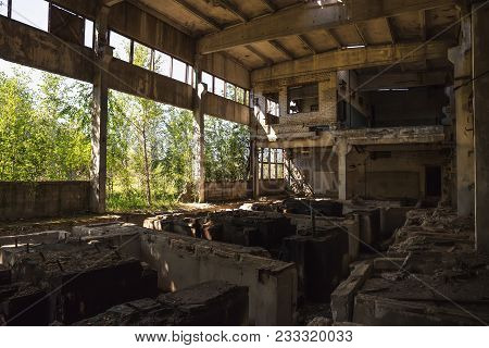 Abandoned Ruined Industrial Factory Building, Ruins And Demolition Concept