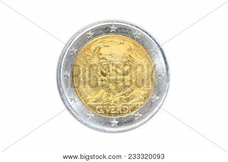 Italy Coin Of Two Euro Closeup With Head Side Of The Famous Italian Composer Giuseppe Verdi, Artist