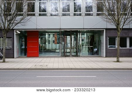 Mainz, Germany - March 17: The Glass Entrance Of Db Cargo Ag Headquarters In Mainz With A Modern Ent