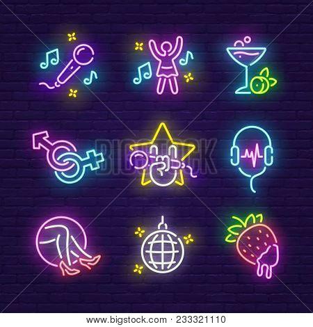 Big Set Icon. Isolated Icon Neon Style. Theme Night Club, Disco And Karaoke.  Logo, Emblem And Label