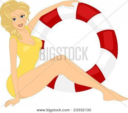 Illustration of a Girl Posing Seductively