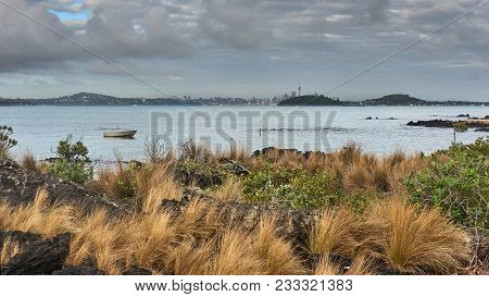 View Of Downtown Auckland Across The Hauraki Gulf From Rangitoto Island New Zealand