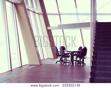 modern office interior, bright  conference meeting room with big windows