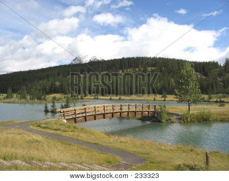 Bridge Cascade Pond  Banff National Park Alberta Canada