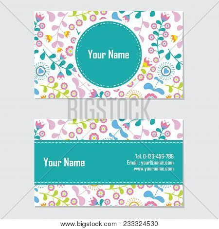 Name Card Vector Design Template With Cyan And Pink Flower For Stationery Card And Business Card