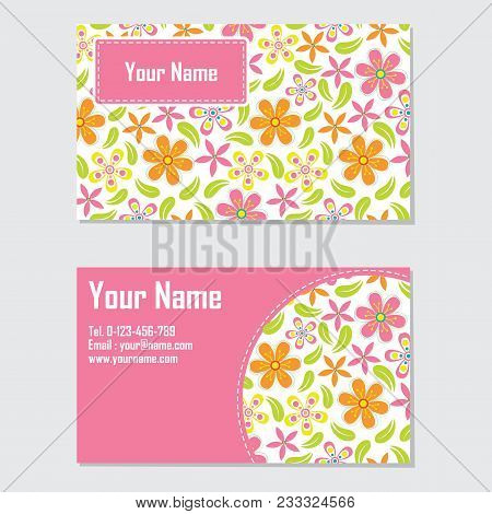 Name Card Vector Design Template With Orange And Pink Flower For Stationery Card And Business Card