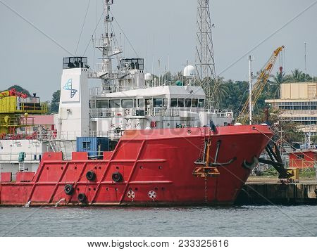 Labuan,malaysia-march 24,2018:offshore Oil & Gas Sea Support Vessels At Port Of Labuan,malaysia.all