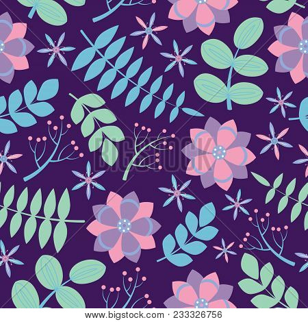 Pink And Purple Flowers With Blue Leaves Seamless Pattern On Dark Purple Background Vector Design Fo