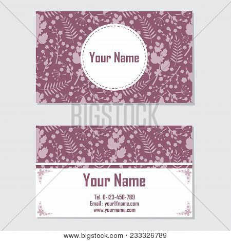 Name Card Vector Design Template With Pink And Purple Flower For Stationery Card And Business Card