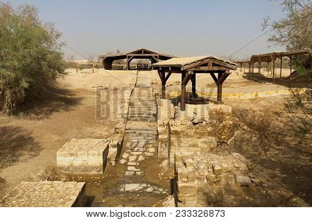 Baptismal Pool Where Jesus Christ Baptized Near Jordan River In Jordan