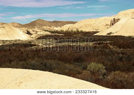 Riparian Wetlands Surrounded By Hills Of Sandstone Creating A Badlands Landscape Taken In Death Vall