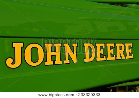 Yankton, South Dakota, August 19, 2017: The New John Deere Words Identify Machinery For The John Dee
