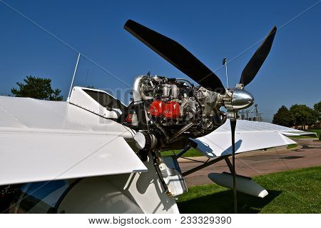 Yankton, South Dakota, August 19, 2017, The Airplane Is Propelled By A Rotax Internal Combustion  En
