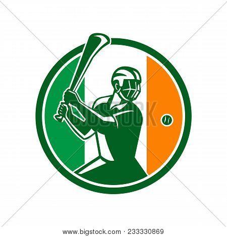 Icon Retro Style Illustration Of Athlete Or Player Playing Hurling, A Gaelic Irish Sport,  Striking