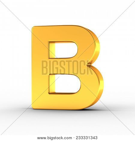 3D Illustration of the Letter B as a polished golden object over white background with clipping path for quick and accurate isolation.