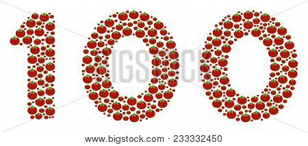 100 Text Collage Of Tomato. Vector Tomato Vegetable Objects Are Composed Into 100 Text Collage. Orga