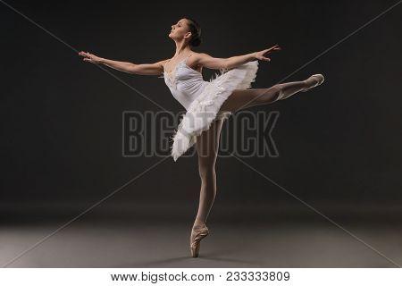 Ballerina In Tutu And Pointe Dancing Gracefully In Dark Room Full-length Profile Shot