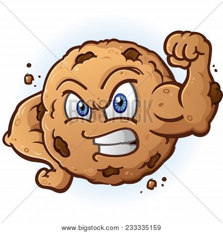 Tough Cookie Cartoon Character Flexing His Muscles