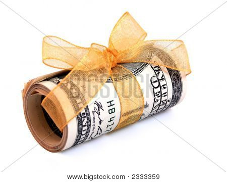 Money Roll Wrapped In A Golden Ribbon