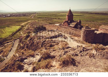 Fortified Khor Virap Monastery On Hillock. Exploring Armenia. Armenian Architecture. Tourism And Tra